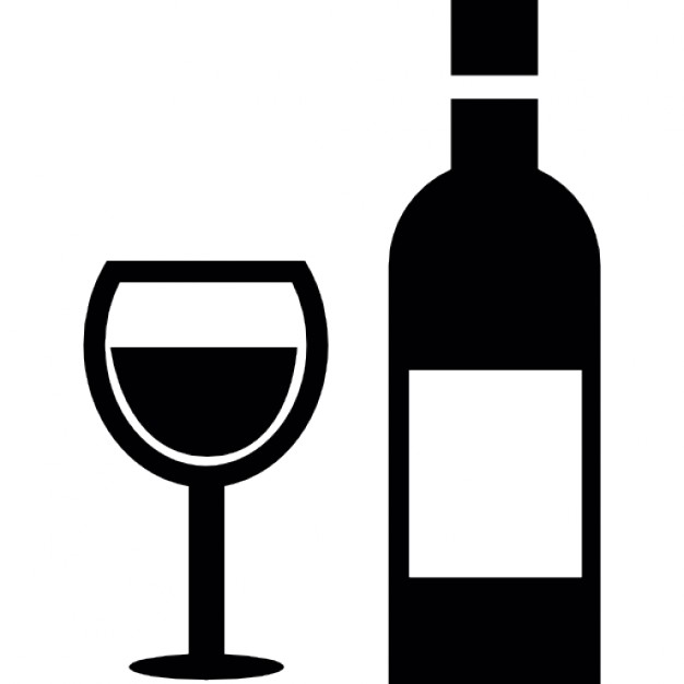Glass And Bottle Wine Icon image #15967