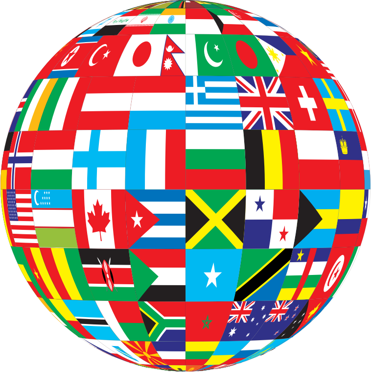 Globe With Flags Png image #39537