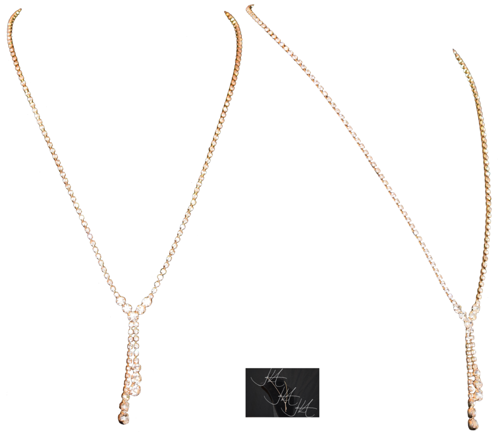 Gold and Crystal Long Necklace photo