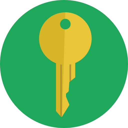 green circle orange house key