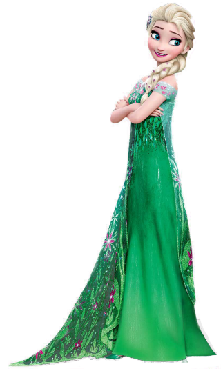Green Dresses Elsa Frozen Fever Render Png image #42239