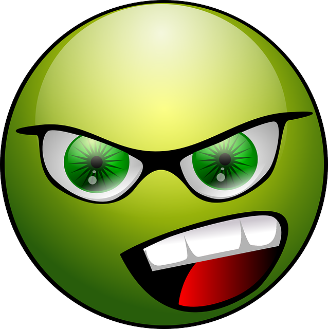 green happy angry face icon