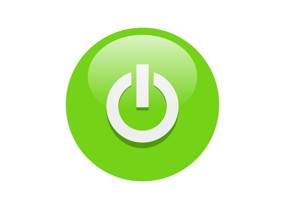 Green Power button symbol icon