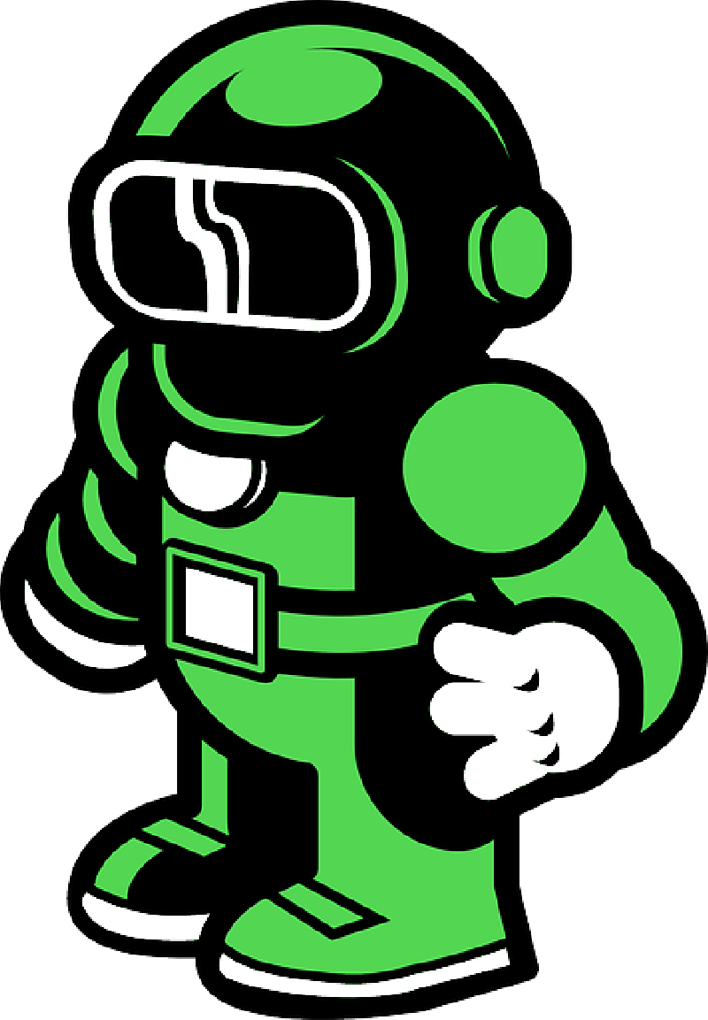 Green Robot Man Diving Png image #4436