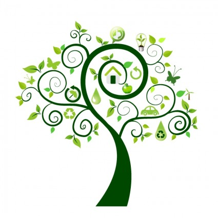 Green Tree With Ecology Icons Free Vector In Adobe Illustrator Ai  image #1550