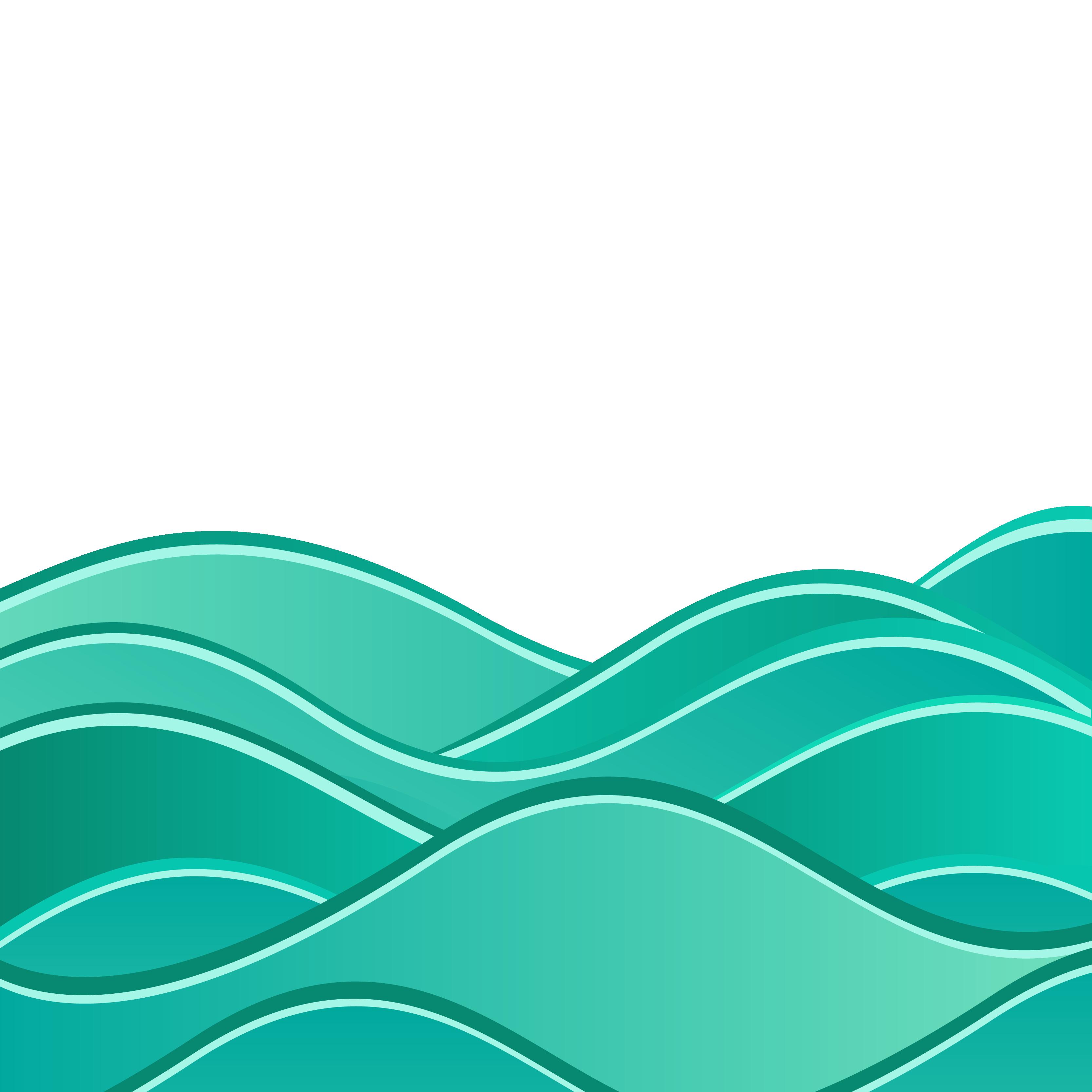 Green Wave Vector Transparent Background
