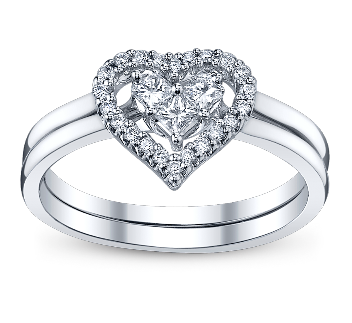 Heart And Bow Diamond Engagement Rings Png image #45295