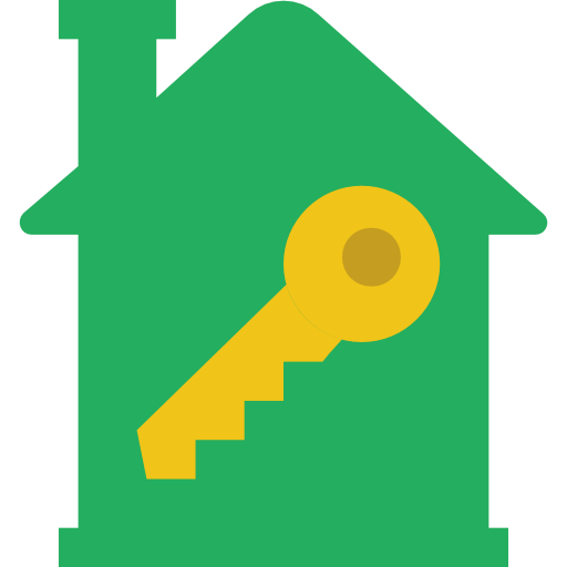 home, green, house key