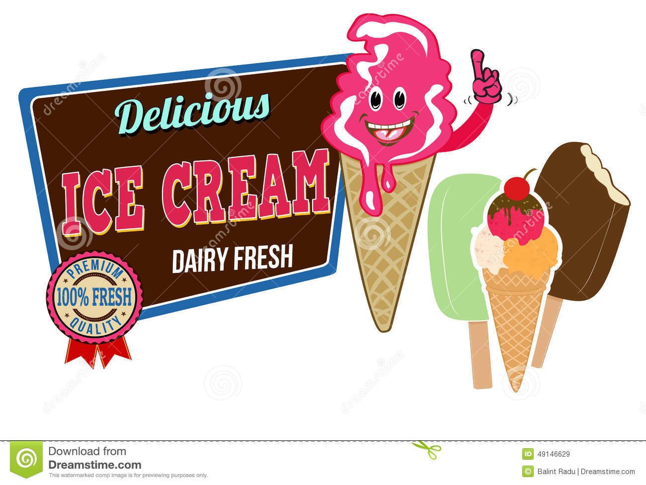 Ice Cream icon on white background, vector illustration.