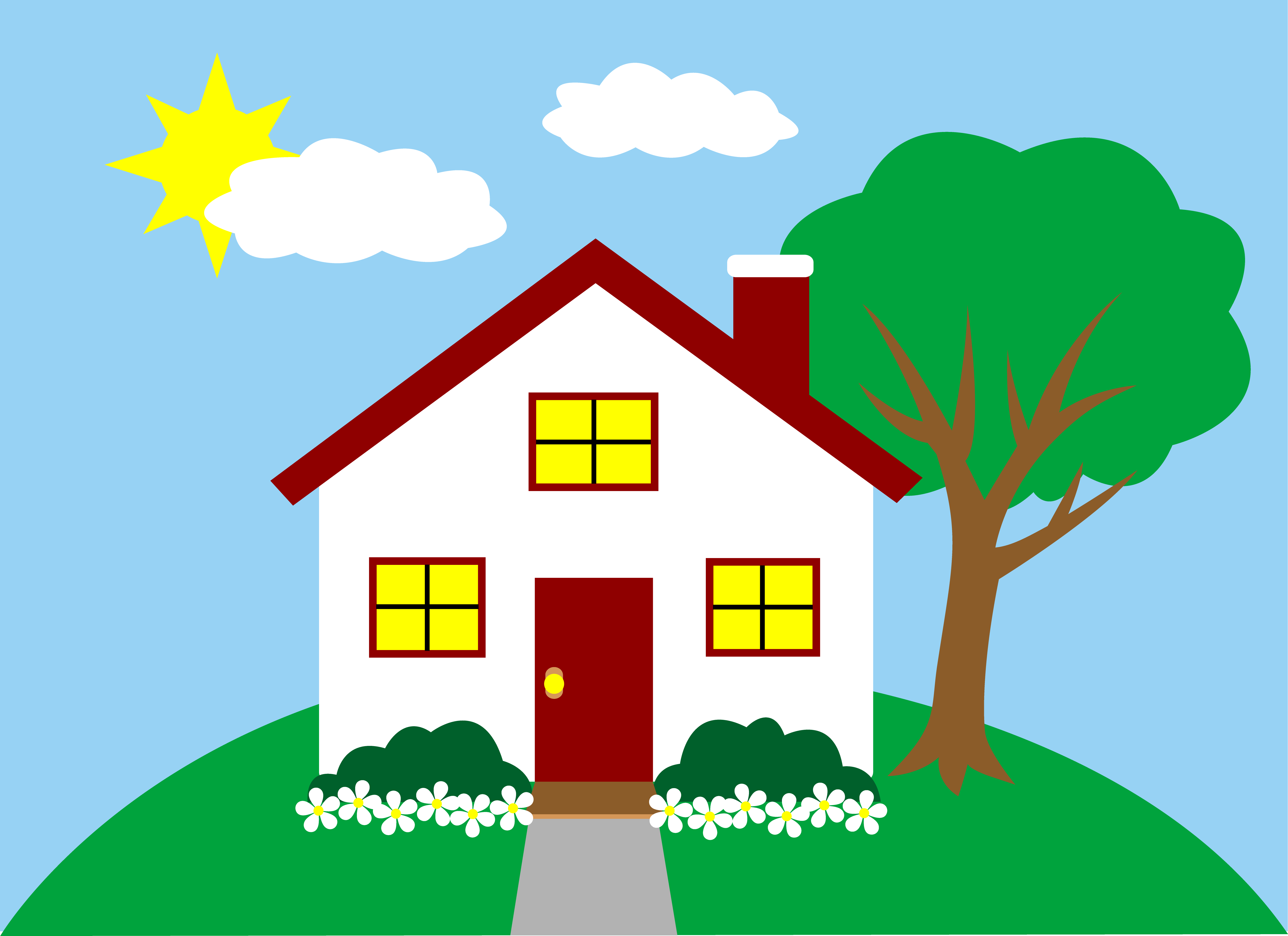 Landscape With Little House Free Clipart image #45364