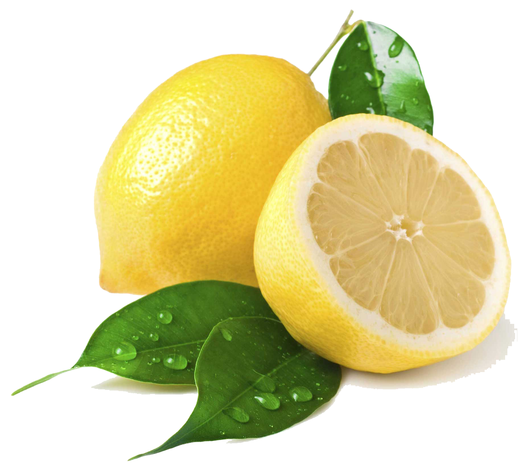 Lemon Fruit With Leaf Png image #38647