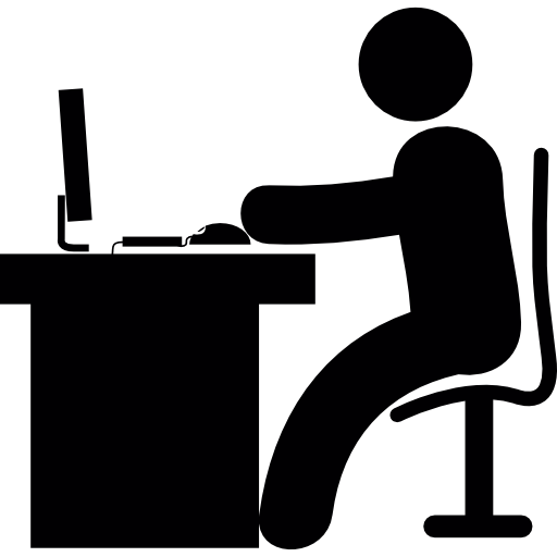 Man in office desk with computer  Free People icons