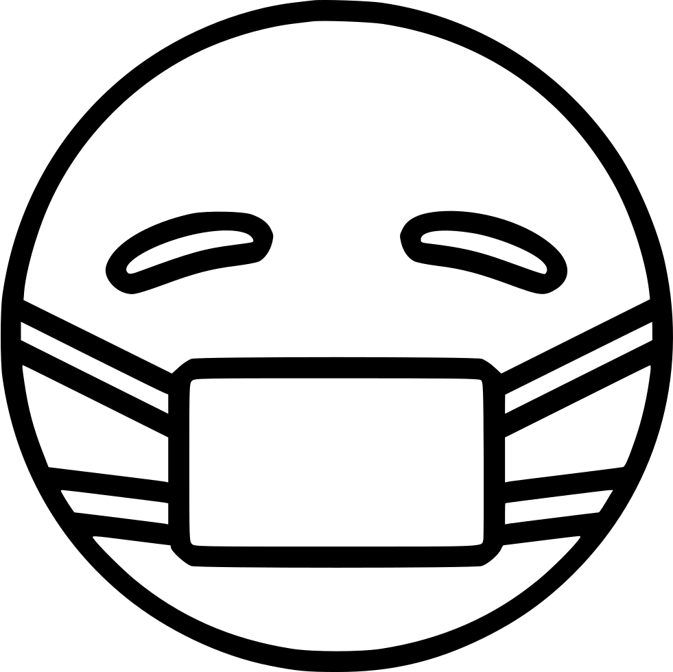 Black emoji medical mask png, virus, protection