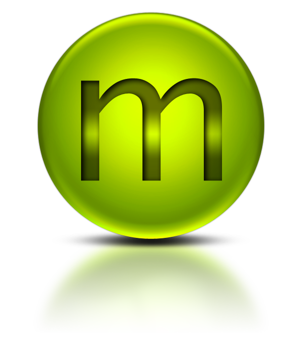 metalic green letter m icon png
