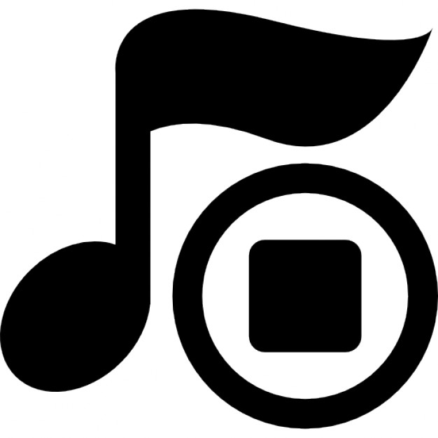 musical note with music stop icon