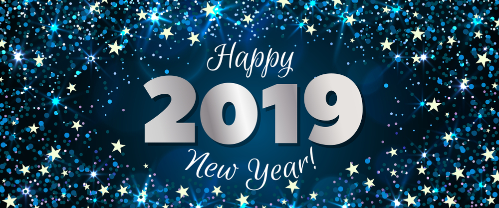 New Year 2019, Stars, Blue Decorations image #47304