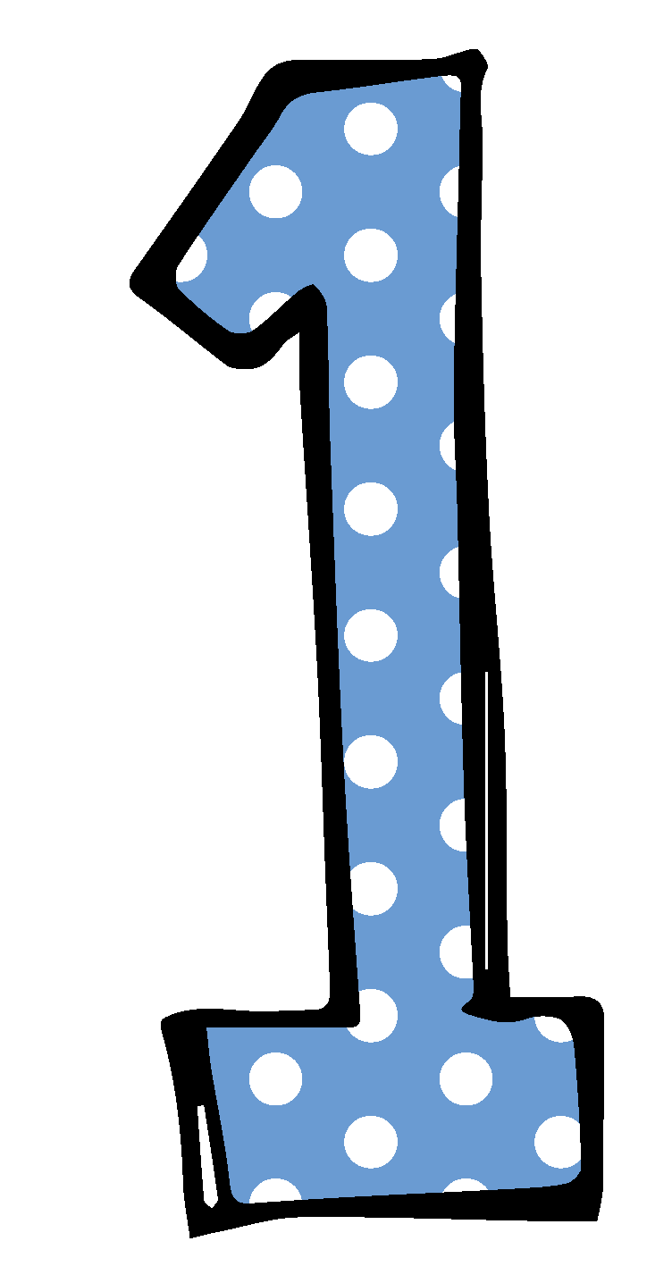 Number 1 blue dotted png