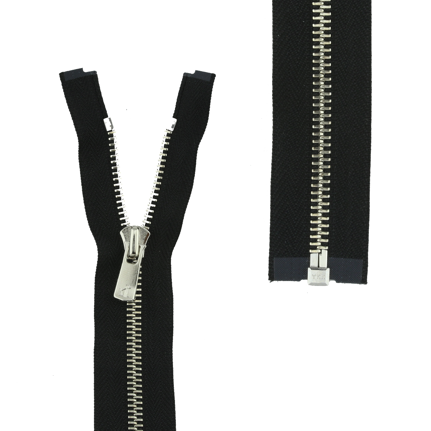 opened the zipper down black and metal
