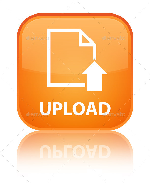 orange, square, button, document, file, page, up, upload icon