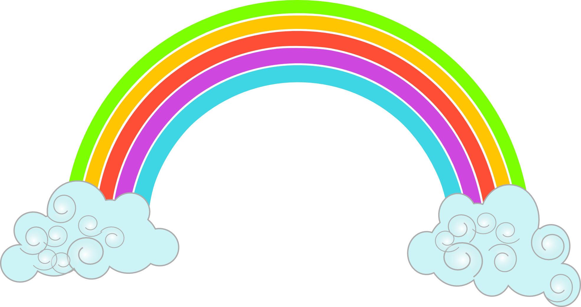 Rainbow With Clouds Png Clipart image #6995