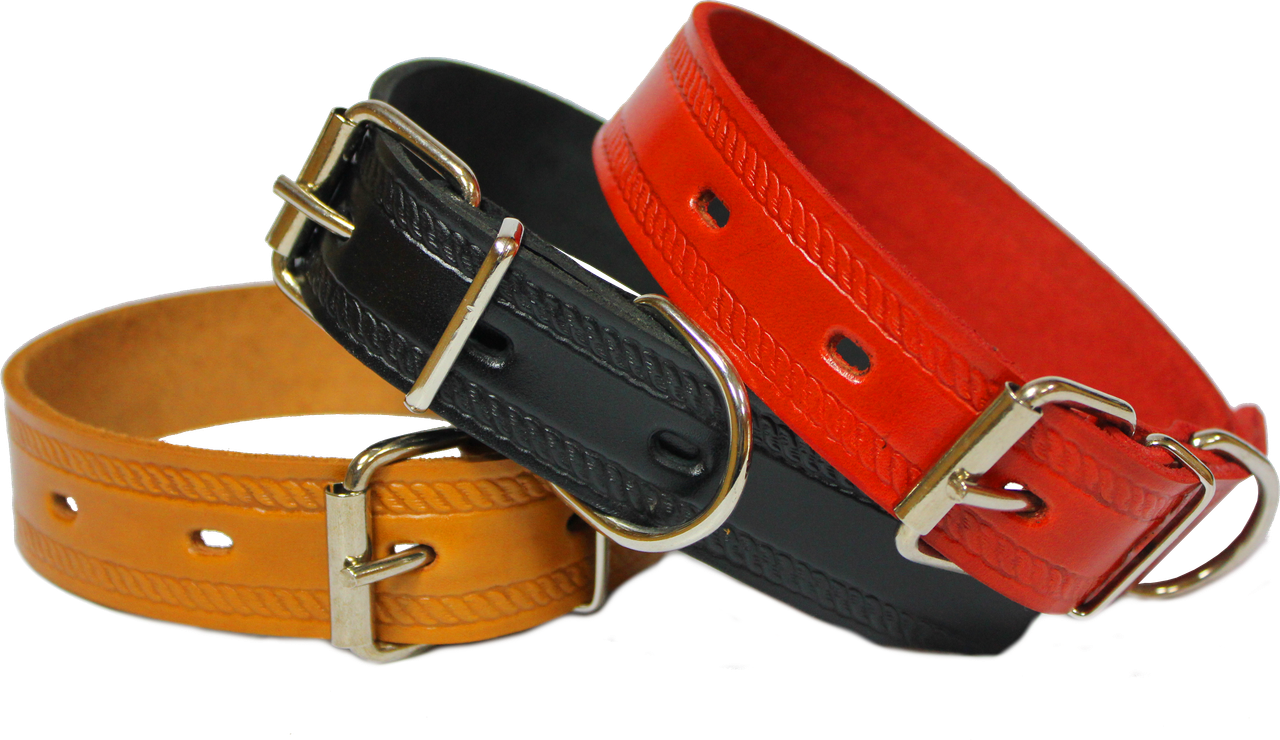 Red, black and brown dog collar from images