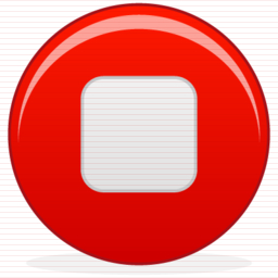 Red Music Stop Icon image #39451