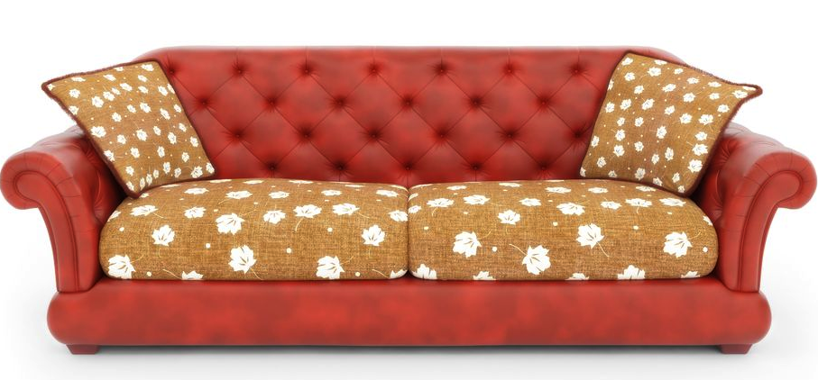 Red Old Couch Png image #37477