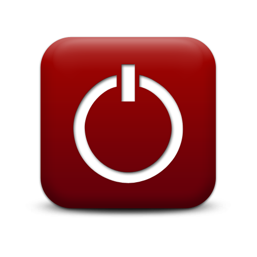 Red Power Button Icon image #8364