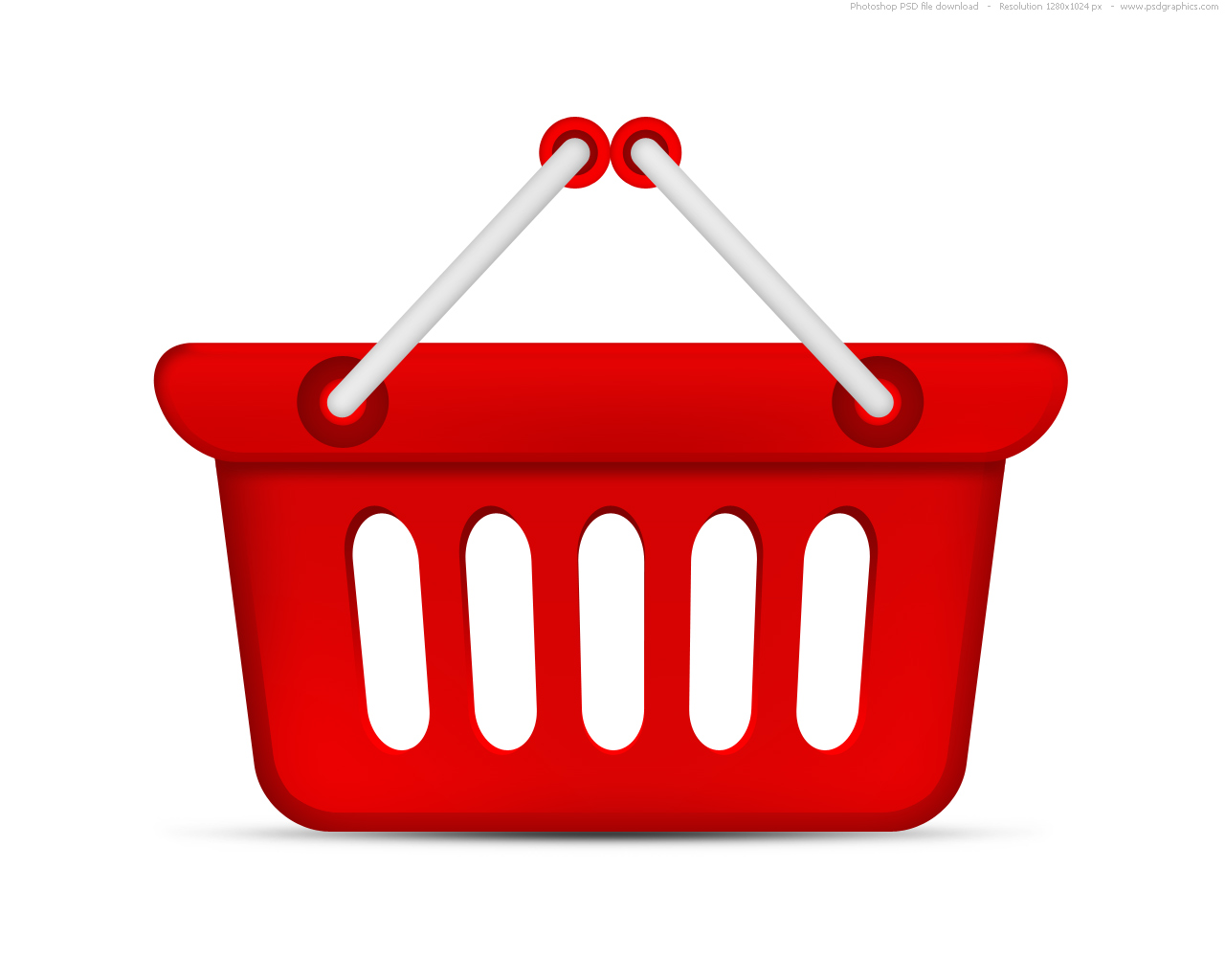 Red Shopping Basket Icon image #29090