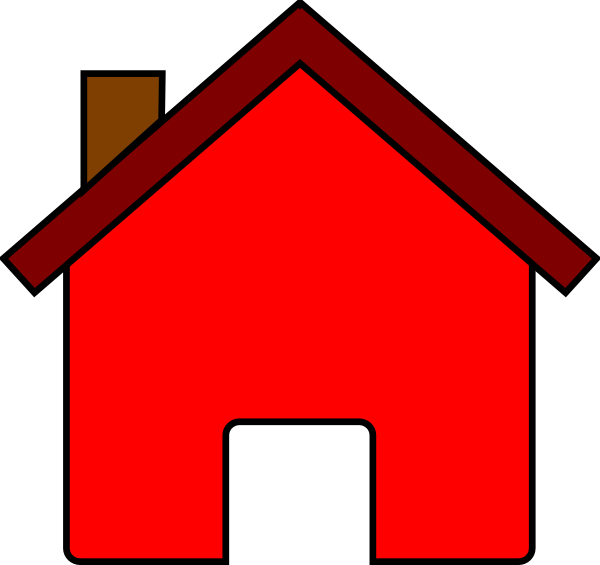 Red Solid House Clip Art Photo