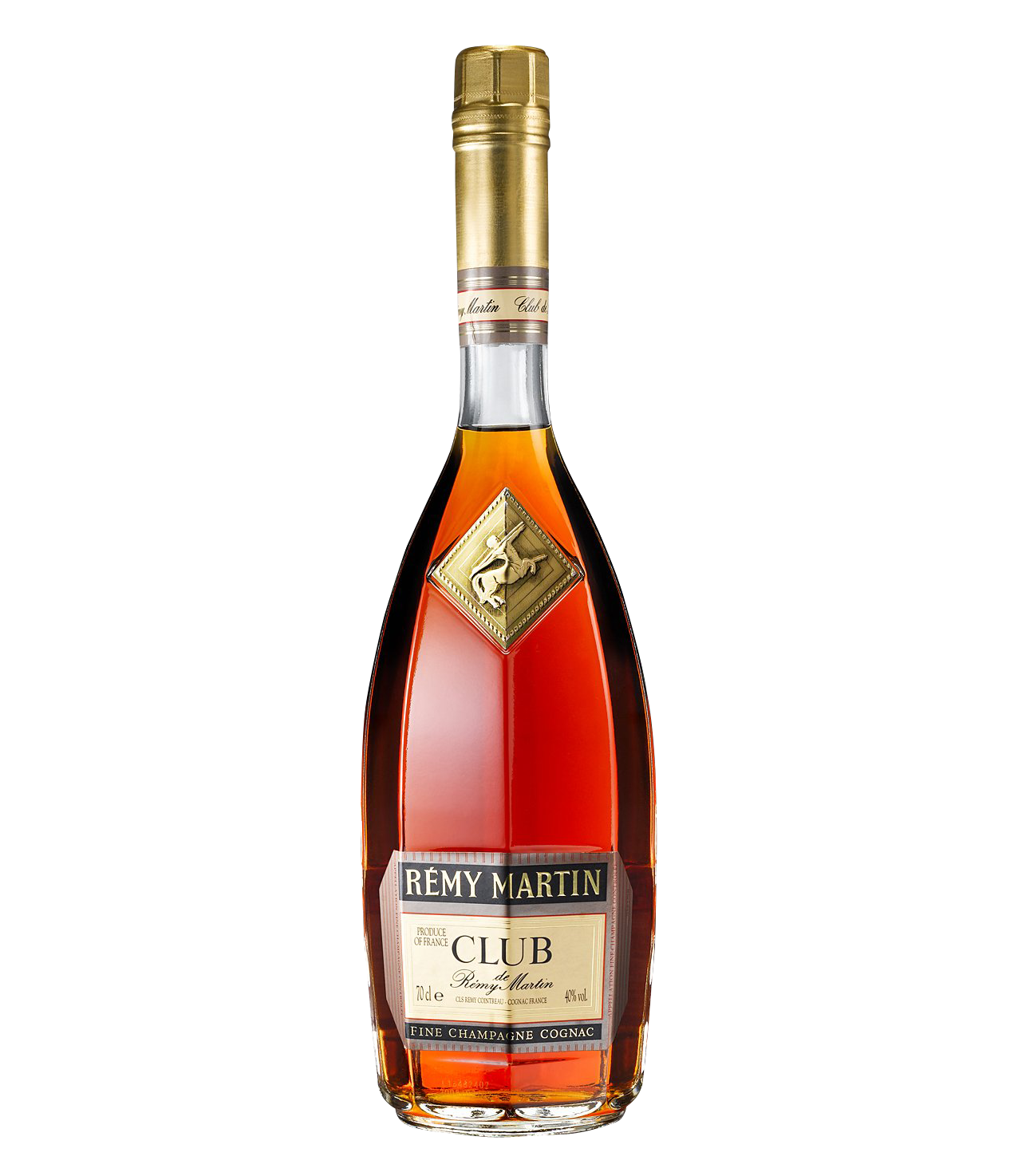 Remy Martin club brand filled glass bottle PNG image, free download