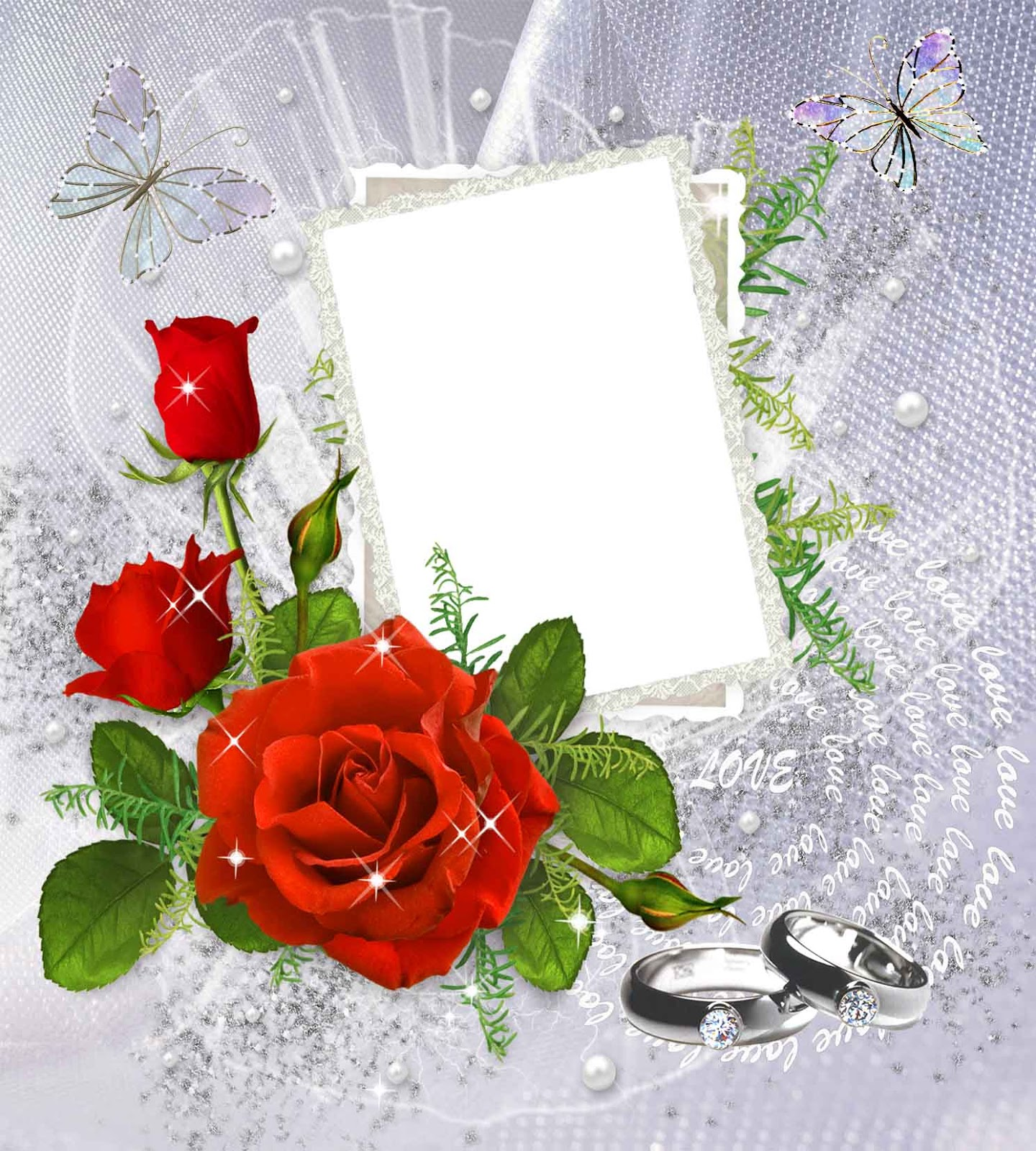 Rings, Roses, Wedding Photo Frame Png image #35206