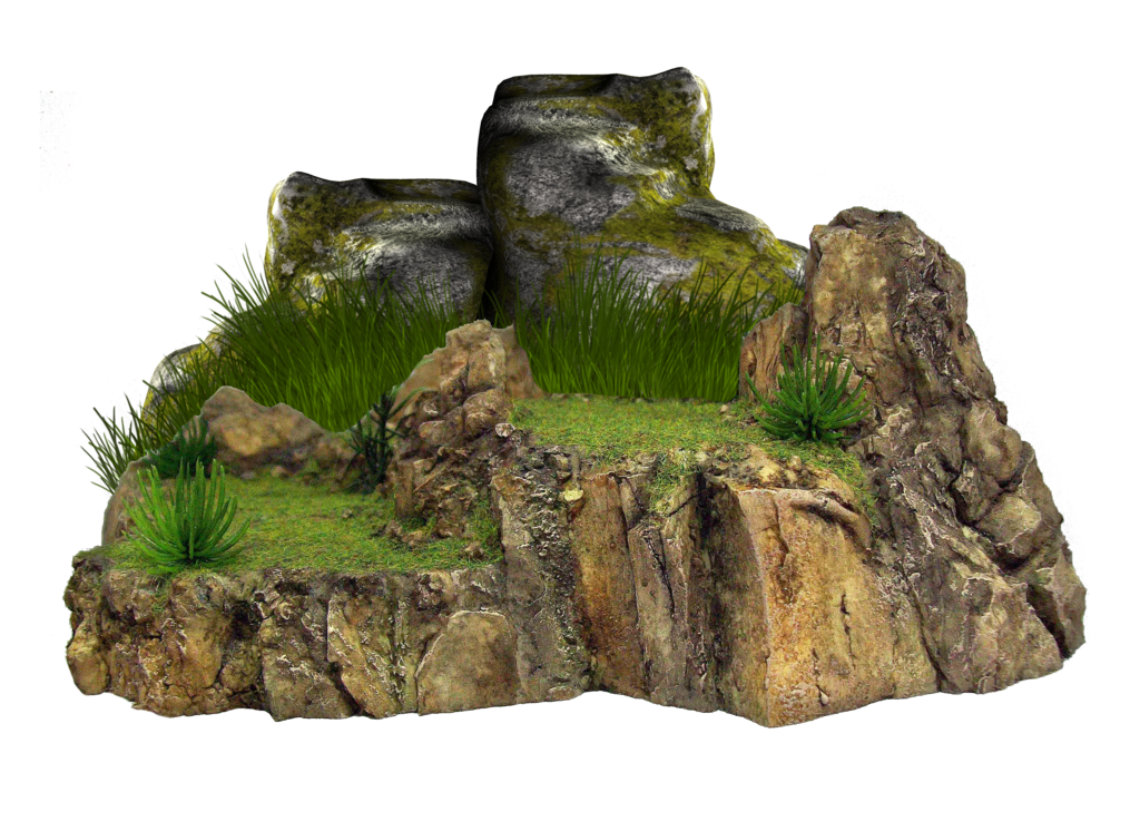 rocks, moss coating on the stone png