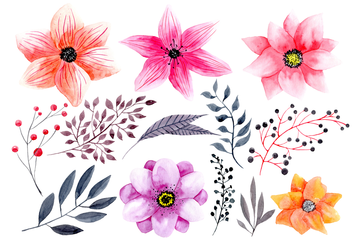 Rustic Watercolor Flowers, Design PNG Photo image #46966