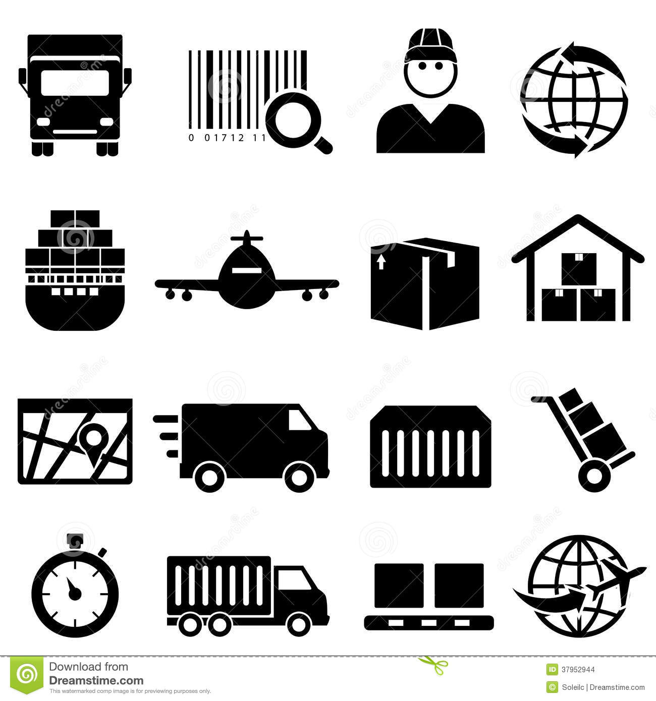 Shipping And Cargo Icons Stock Images  Image: 37952944