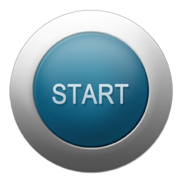 Start Button Silver Blue Png Icon image #44885