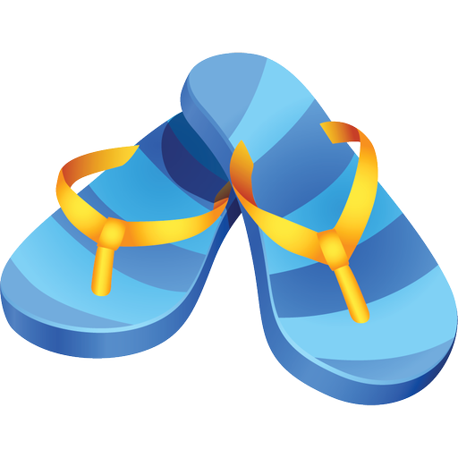 Summer travel flip flops icon png