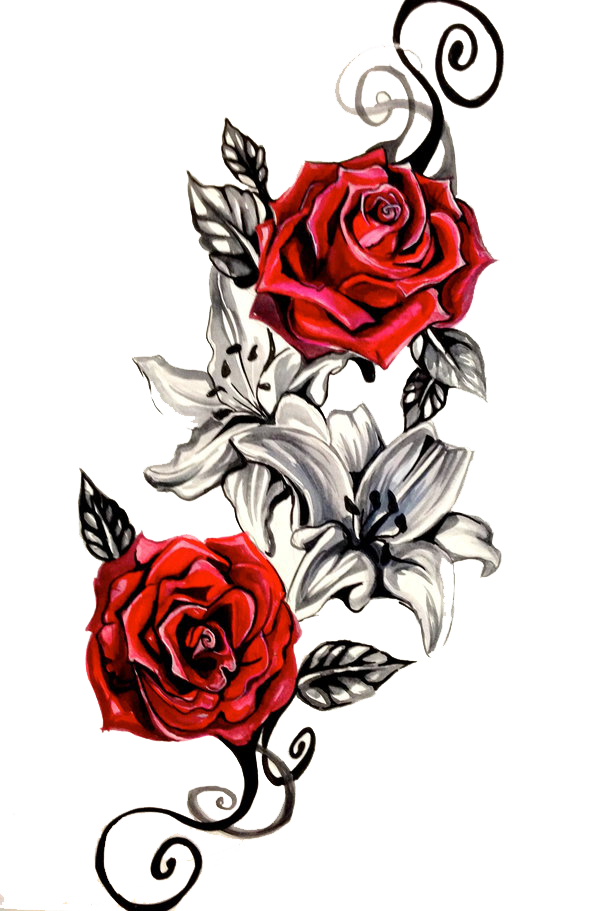 Tattoo Red Roses Png image #39026