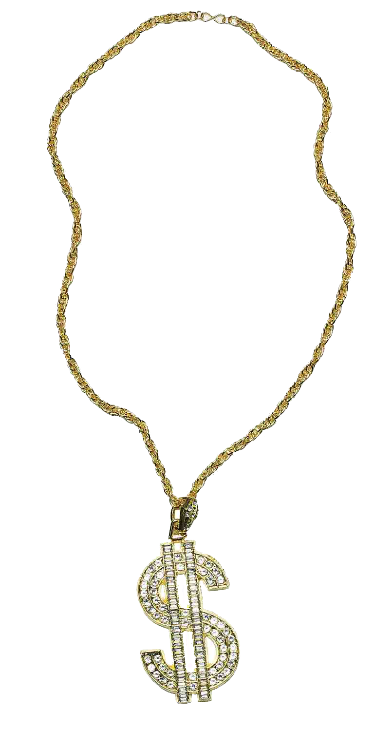 Thug Life Gold Dollar Chain PNG HD