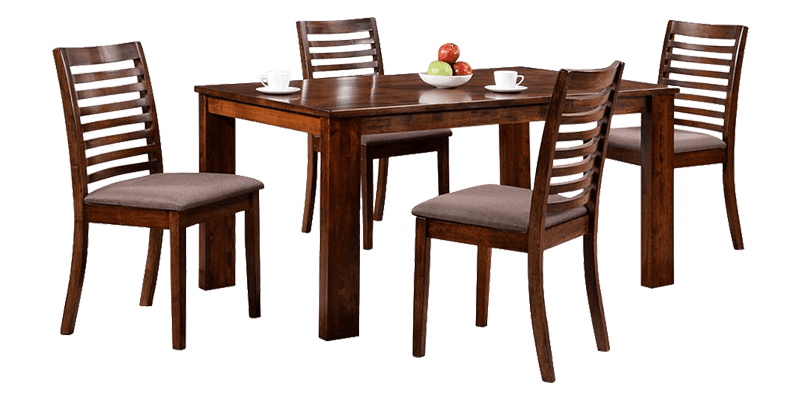 Transitional 4 Seater Dining set with Slatted Chair back png