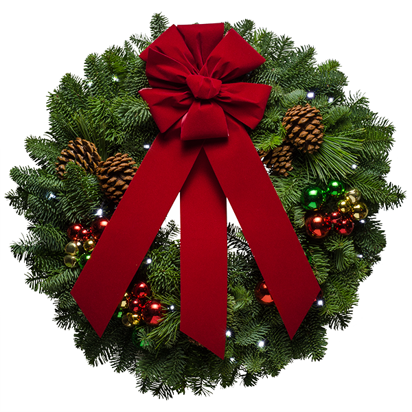 Transparent Christmas Wreath With Red Bow PNG Picture image #39760