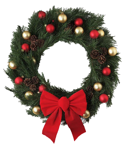 Transparent Christmas Wreath With Red Bow PNG Picture image #39761