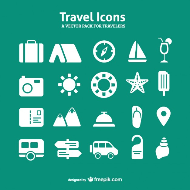 travel icon set vector pack Vector | Free Download