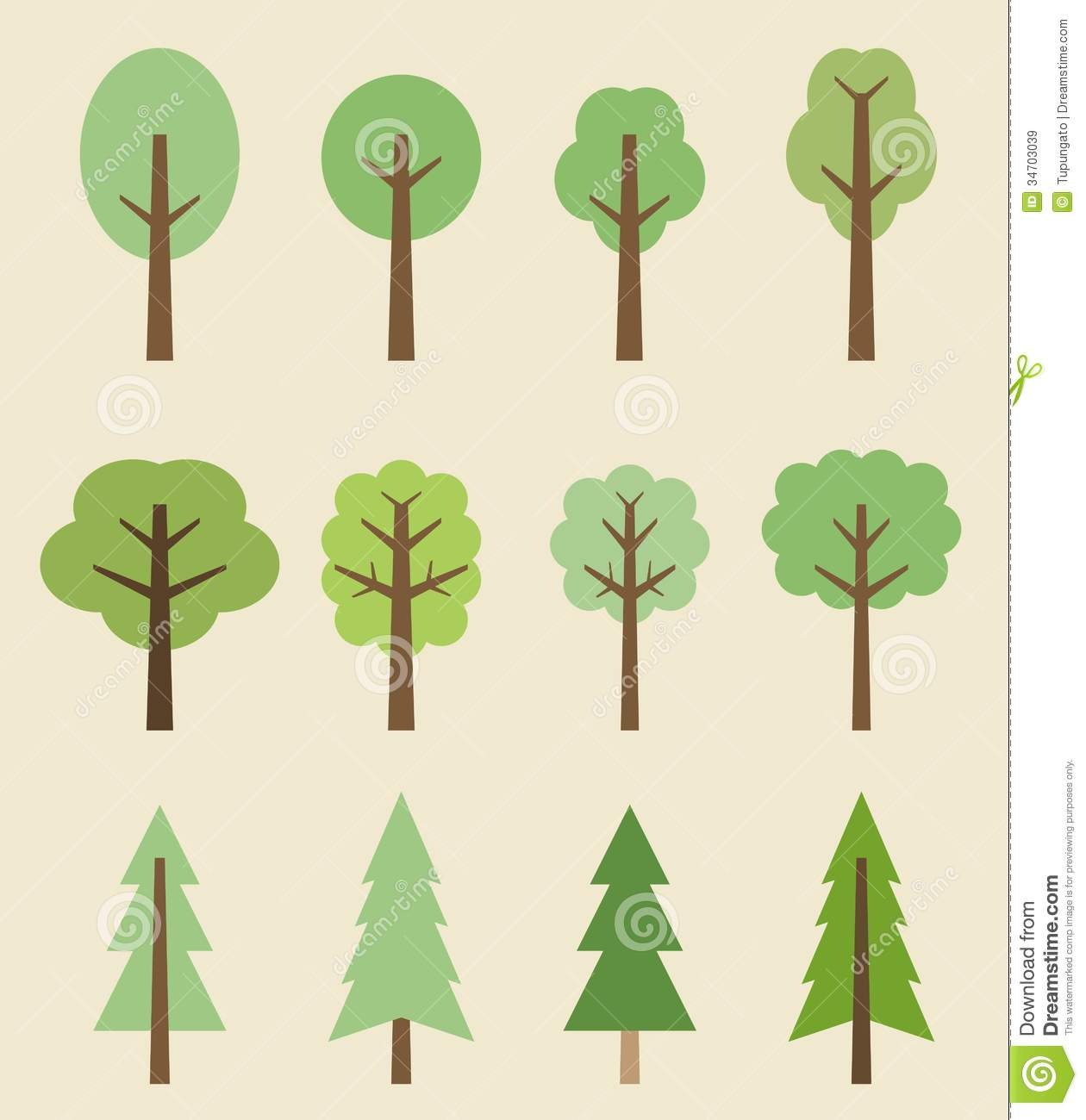 Tree Icon Set   Cute Trees Cartoon Illustration. Nature Collection. image #1549