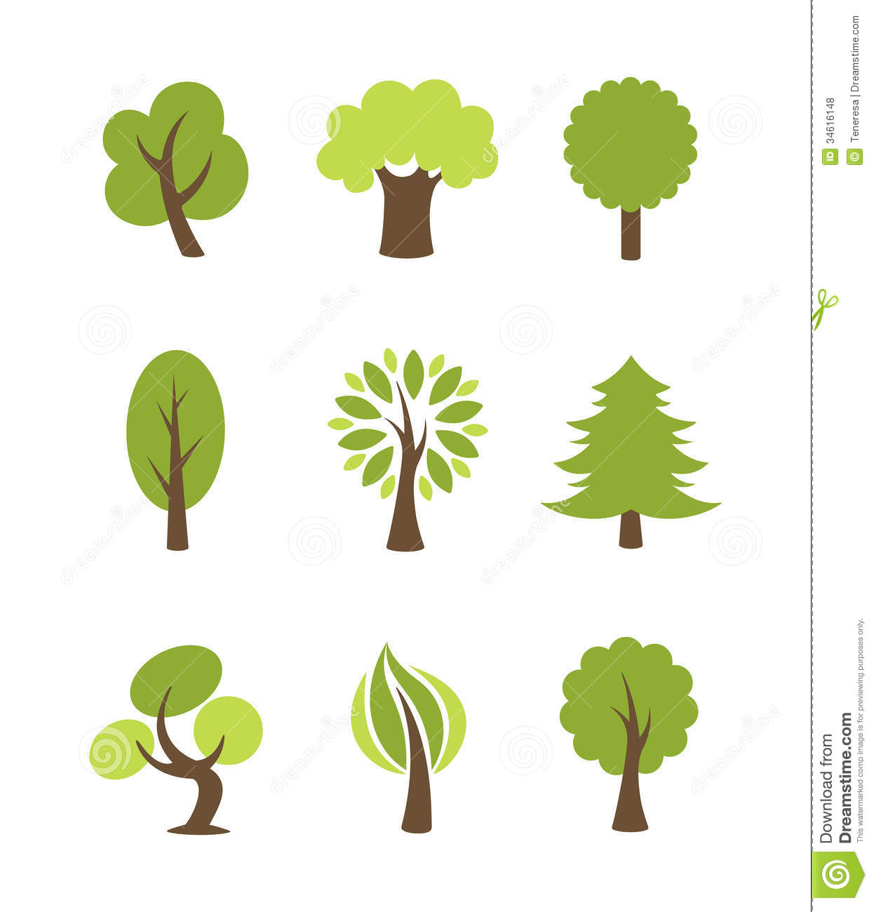 Tree Icons Set Royalty Free Stock Photos   Image: 34616148 image #1536