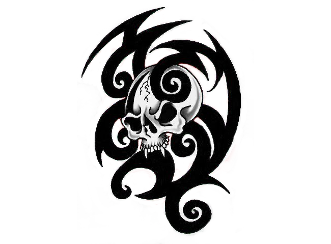 Tribal Skull Tattoos Best Png Clipart image #30741