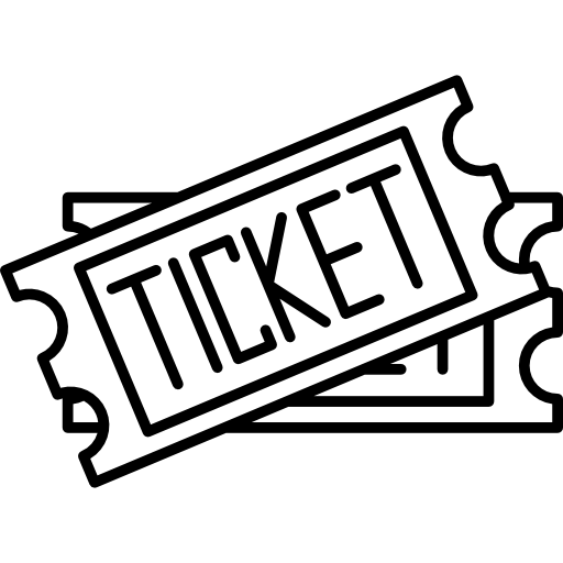 two tickets interface icons outline