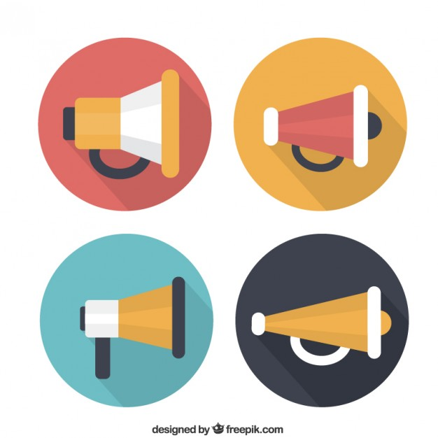 Variety of megaphone icons Vector | Free Download