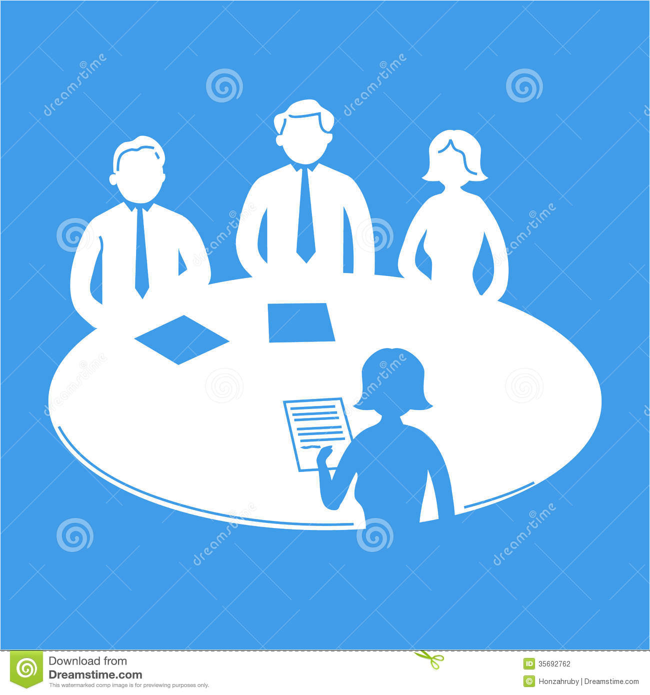Vector business meeting icon with pictograms of people around table