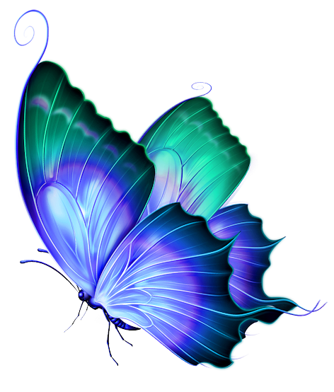 Vintage Butterfly Blue Green png
